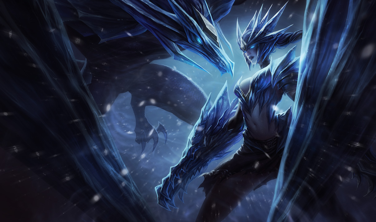 league of legends ice drake shyvana splash art