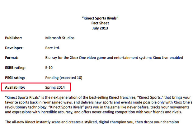 Rumor: Kinect Sports Rivals no longer a launch title
