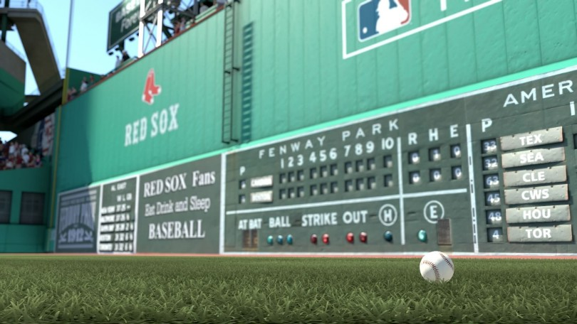 MLB 14 baseball in outfield